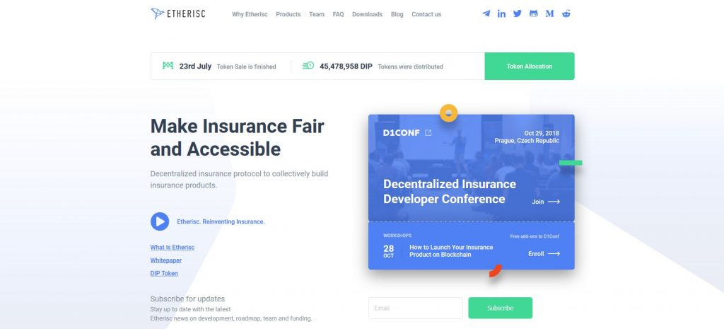 Etherisc - Blockchain in Insurance Company